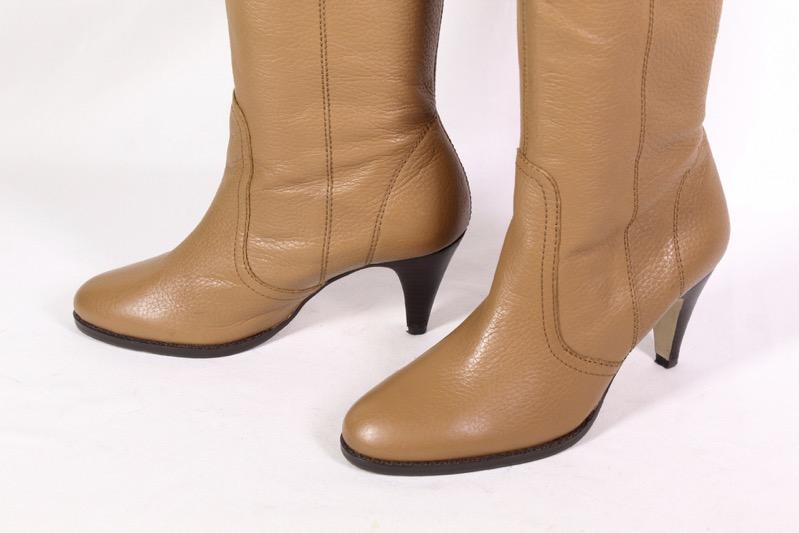 Details zu 15S Zara Stiefel Leder braun Gr. 38 kniehoch Schaftstiefel Weitschaft Slouch
