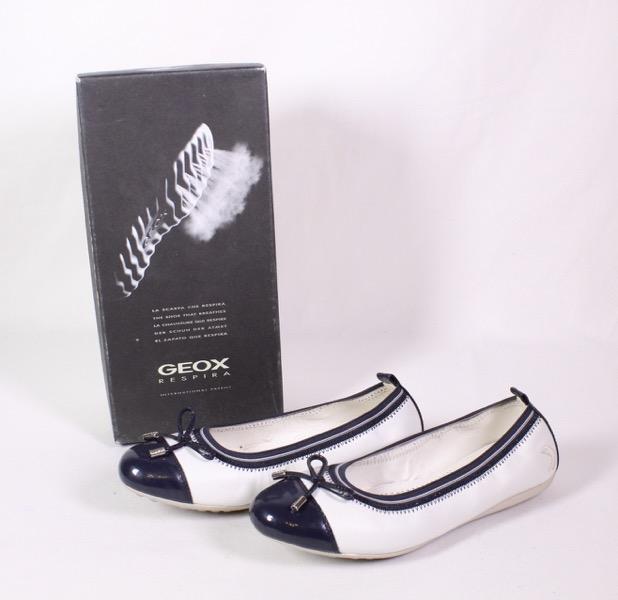 Details zu GEOX Respira Piuma Ballerinas Leder Lack weiß blau Gr. 37 elastischer Rand