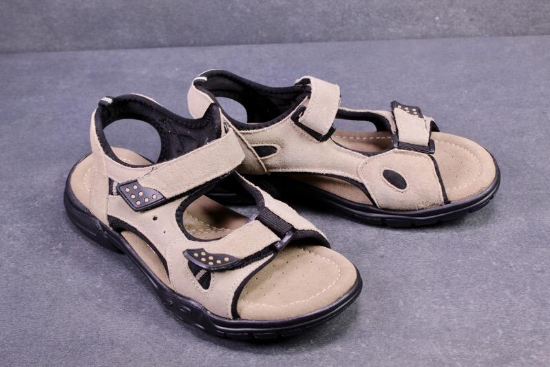 C1243 Gextop Fußbett Trekking Sandalen Leder beige Gr. 40