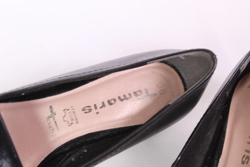 23D Tamaris Pumps Schuhe Leder Lack schwarz Gr. 38 Loafer Fransenlasche | eBay