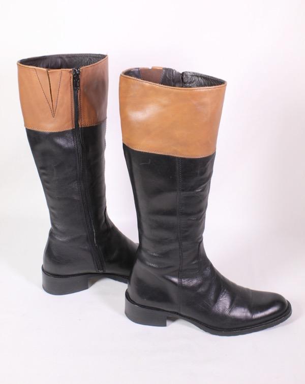 Details zu 2S Filli Romano Stiefel Leder schwarz braun Gr. 37 Schaftstiefel Reiterlook Boho