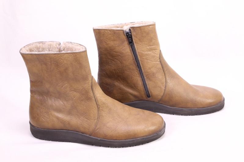 Boots Lammfellstiefel Ungetragen Leder Braun C288 Vintage Details Stiefeletten Zu Gr41 mO80nvNw