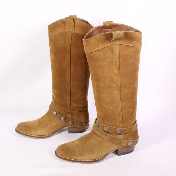 Details zu 4S Zign Damen Stiefel Velours Leder braun Gr. 37 kniehoch Westernstiefel Nieten