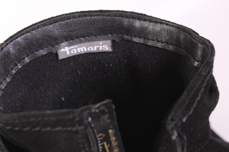 36D Tamaris Damen Stiefeletten Boots Velours Leder schwarz Gr. 39 Fransen Wedge | eBay