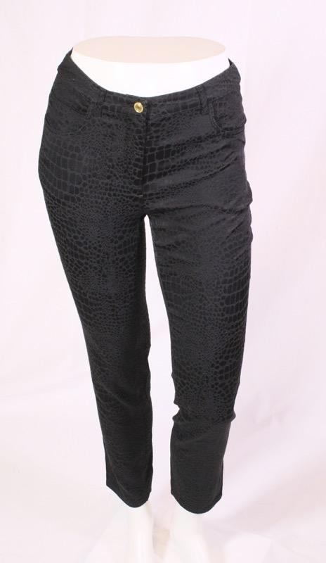 59cd4c34a67e Details zu GJ2-258 H&M Damen Jeans Hose schwarz Gr. 38 L28 Stretch  Reptilmuster Satin