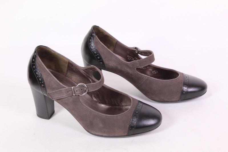 17D Gabor Riemchen Pumps Schuhe Leder Gr. 37,5 (4,5) grau