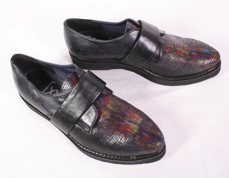 Details zu D2 xyxyx Damen Schuhe Slipper Flats Leder schwarz bunt Gr. 37 Herrenstil Creeper