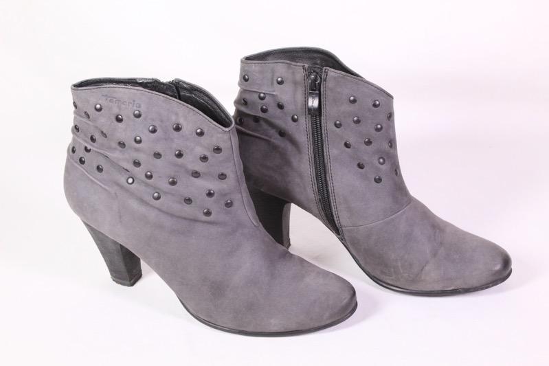 how to buy purchase cheap biggest discount Details zu 8D Tamaris Stiefeletten Leder grau Gr. 40 Blockabsatz Boho Ankle  Boots Nieten