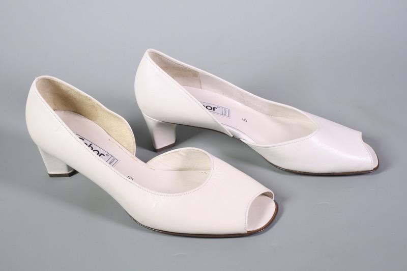 Details zu 23D Gabor Damen Peep Toe Pumps Leder weiß Gr. 38 (5) Blockabsatz Vintage