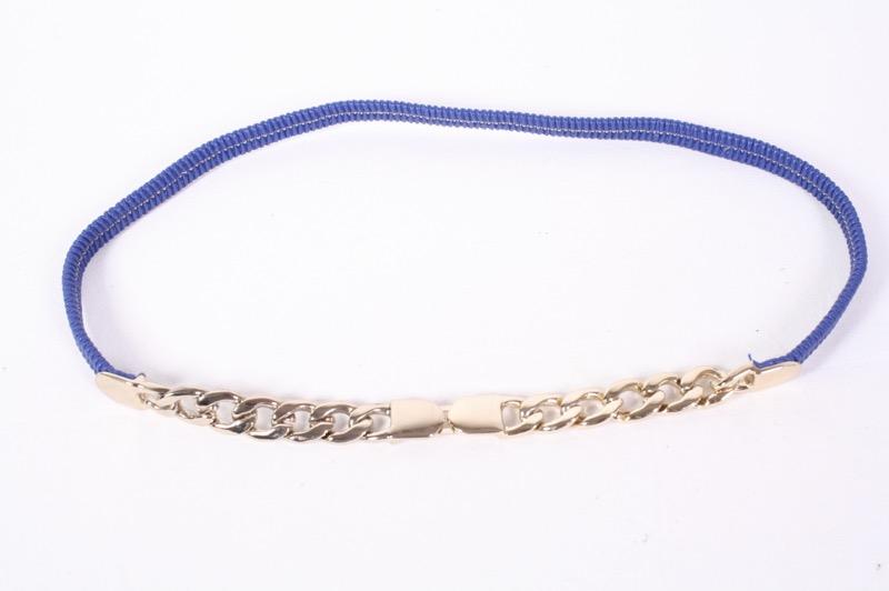 62cb7cdd380b13 G344 Kettengürtel Stretchgürtel blau gold schmal 70 - 90 cm Taillengürtel  Boho
