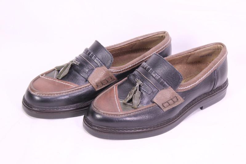 Details zu C328 Master Herren Schuhe Slipper Leder schwarz braun Gr. 46 Vintage ungetragen