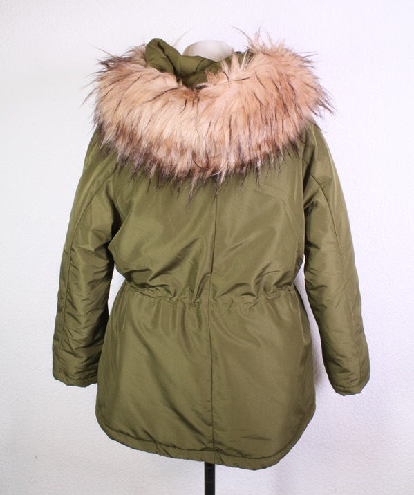 Details about T38 24 h&m Womens Parka Jacket Nylon Khaki Size S Hooded Pink Fur Trim show original title